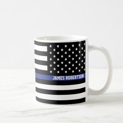 Thin Blue Line - American Flag Personalized Custom Coffee Mug