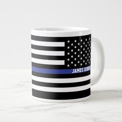 Thin Blue Line - American Flag Personalized Custom Large Coffee Mug