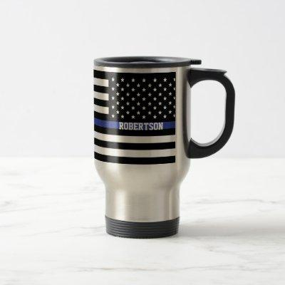 Thin Blue Line - American Flag Personalized Custom Travel Mug