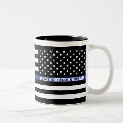 Thin Blue Line - American Flag Personalized Custom Two-Tone Coffee Mug