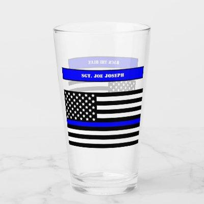 [Thin Blue Line] Back the Blue Police Pint SVG Glass