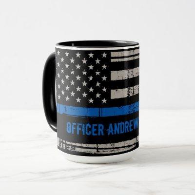 Thin Blue Line Gift - Law Enforcement USA - Police Mug