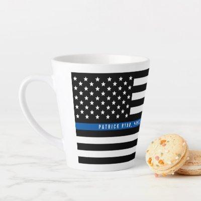Thin Blue Line Police Flag Monogram Latte Mug