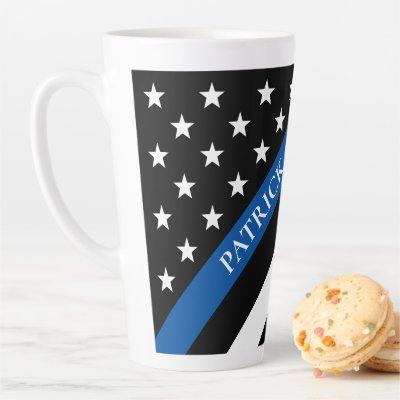 Thin Blue Line Police Flag Monogram Name Latte Mug