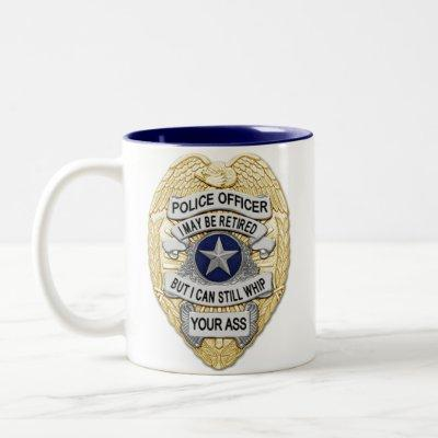 Thin Blue Line - Retired Badges Two-Tone Coffee Mug