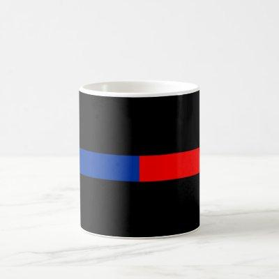 thin red blue line police law coffee mug