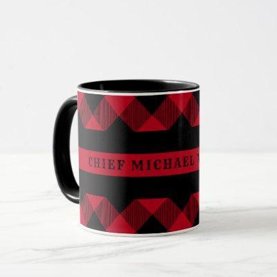 Thin Red Line Firefighter Buffalo Plaid Monogram Mug