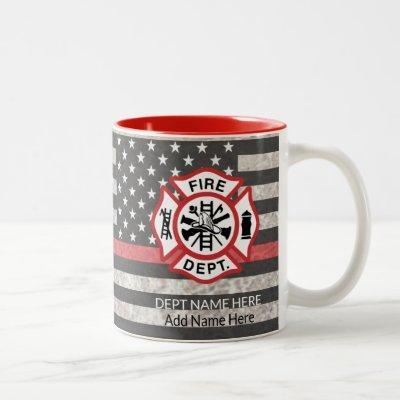 Thin Red Line, Firefighter Coffee Mug, Fireman Two-Tone Coffee Mug