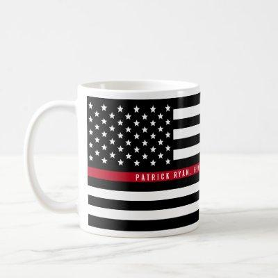 Thin Red Line Firefighter Flag Add Name Coffee Mug