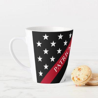 Thin Red Line Firefighter Flag Monogram Name Latte Mug