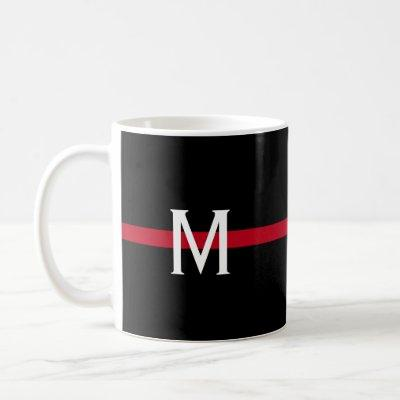 Thin Red Line Firefighter Monogrammed Coffee Mug