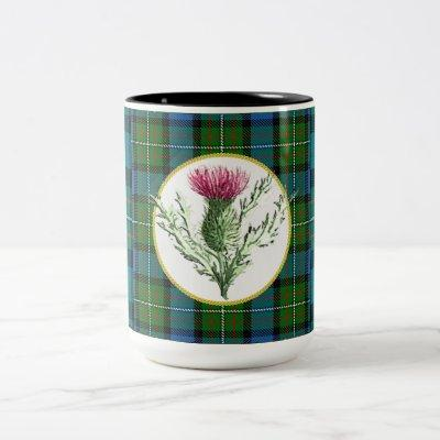 Thistle coffee cup with Ferguson Clan tartan