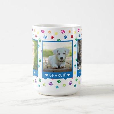 Three Pet Photos Names Blue Colorful Paw Prints Coffee Mug