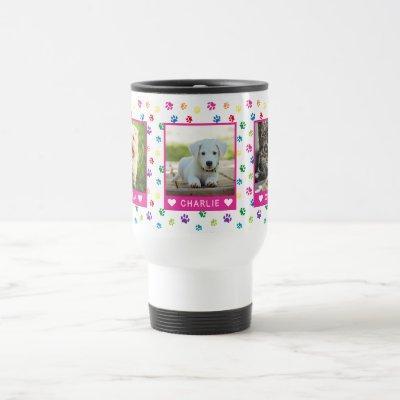 Three Pet Photos Names Pink Colorful Paw Prints Travel Mug