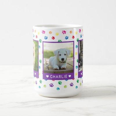 Three Pet Photos Names Purple Colorful Paw Prints Coffee Mug