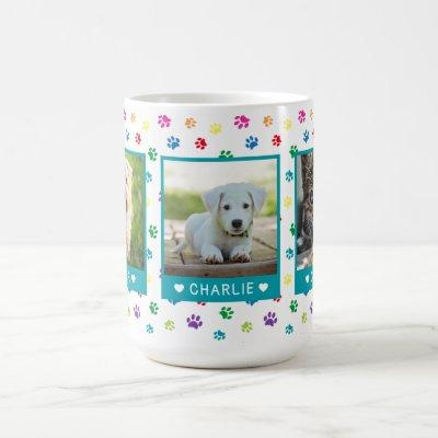 Three Pet Photos Names Teal Colorful Paw Prints Coffee Mug
