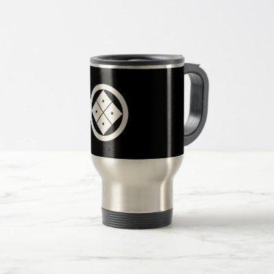 Tilted four-square-eyes in circle travel mug