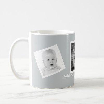 Tilted Photos Custom Text Any Color Coffee Mug