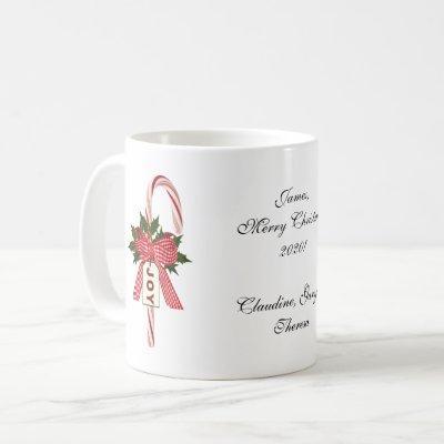 "To and From Folks Candy Cane ""Joy"" Christmas Coffee Mug"