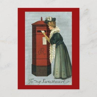 To My Sweetheart Woman Mailing Valentine Holiday Postcard