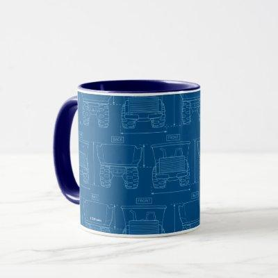 Tonka Tough | Dump Truck Blueprint Pattern Mug