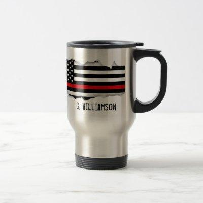 Torn Out Thin Red Line American Flag Custom Name Travel Mug