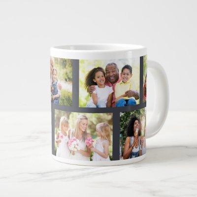 Trendy 8 Picture Masonry Grid Grey Photo Giant Coffee Mug