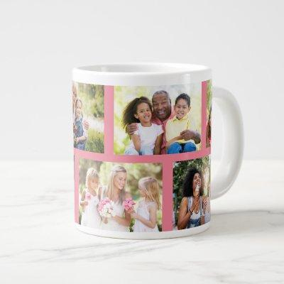 Trendy 8 Picture Masonry Grid Pink Photo Giant Coffee Mug