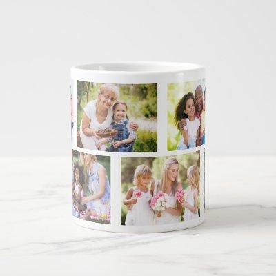 Trendy 8 Picture Masonry Grid White Photo Giant Coffee Mug