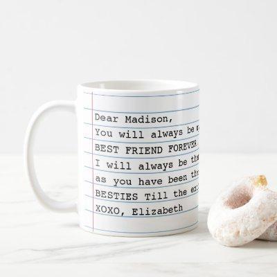 Trendy Best Friends Photo Notebook Letter Message Coffee Mug