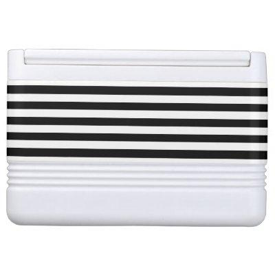 Trendy Black and White Wide Horizontal Stripes Drink Cooler