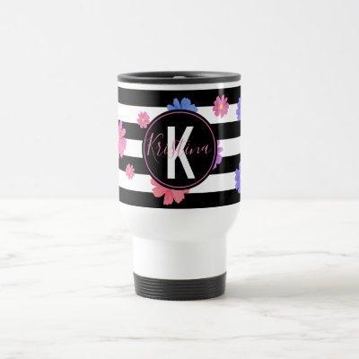 Trendy Floral Black & White Stripes Personalized Travel Mug