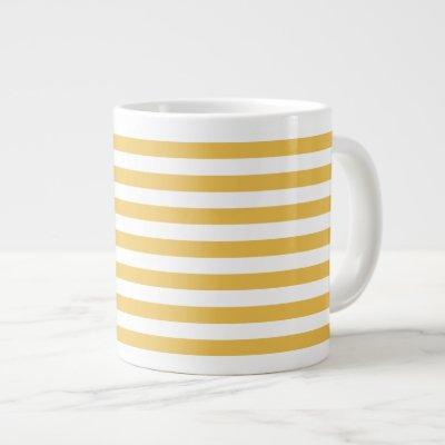 Trendy Yellow and White Wide Horizontal Stripes Large Coffee Mug