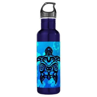 Tribal Turtle Hibiscus Water Bottle