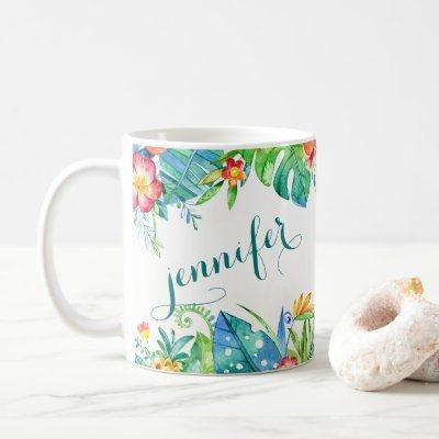 Tropical Floral 2-sided Custom Name Coffee Mug