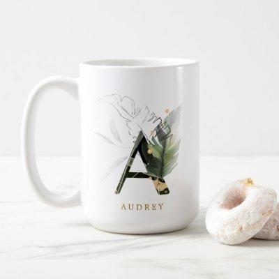 "Tropical Foliage Monogram Letter ""A"" Personalized Coffee Mug"