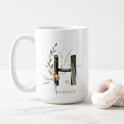 "Tropical Foliage Monogram Letter ""H"" Personalized Coffee Mug"
