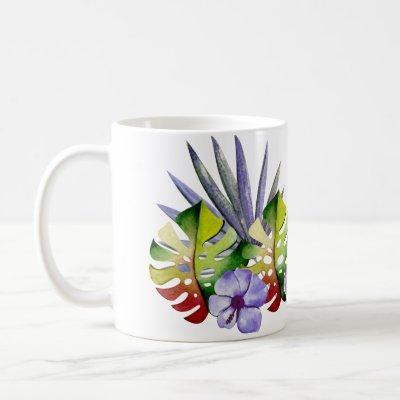 Tropical Leaves Flowers Hawaii Colorful Watercolor Coffee Mug