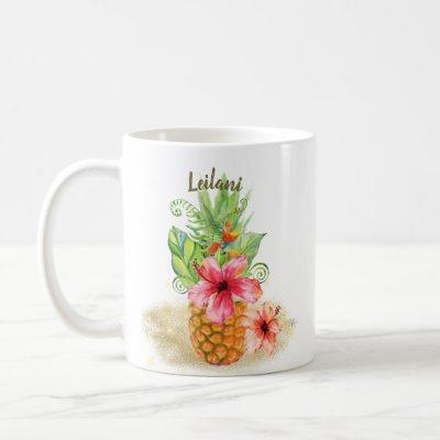 Tropical Pineapple Watercolor Floral Hibiscus Palm Coffee Mug