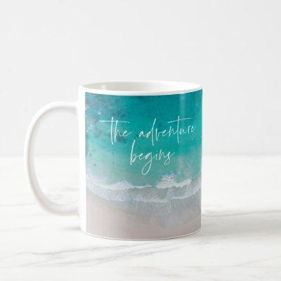 Tropical sand beach ocean personalized adventure coffee mug