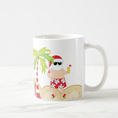 Tropical Santa Beach Christmas Mug