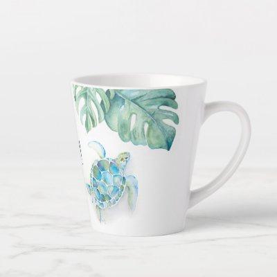 Tropical Turquoise Blue Watercolor Sea Turtle Mug