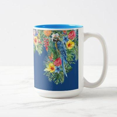 Tropical Watercolor Floral Blue Parrot Monogram Two-Tone Coffee Mug
