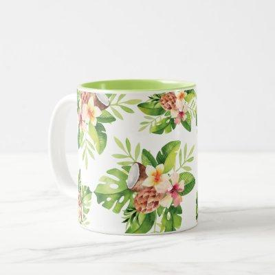 Tropical Watercolor Floral Two-Tone Coffee Mug