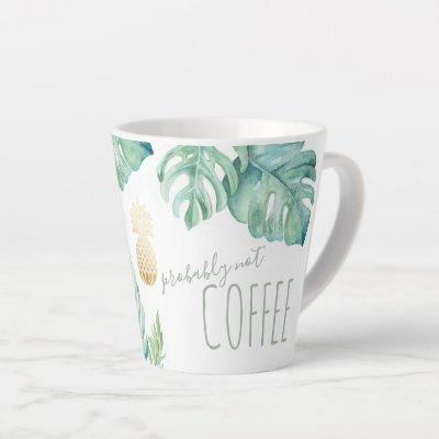 Tropical Watercolor Monstera Leaves Mug