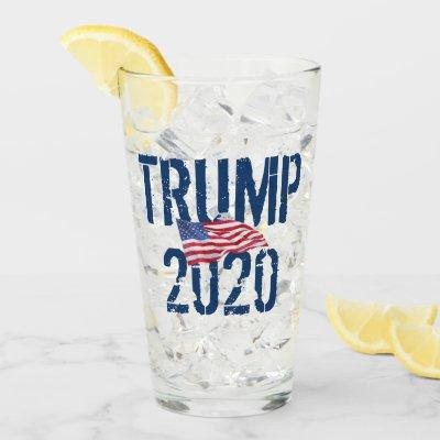 TRUMP 2020 KAG American Flag Glass