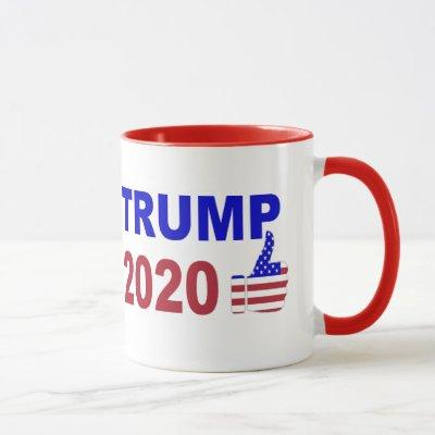 Trump 2020 Thumbs Up red white and blue Mug