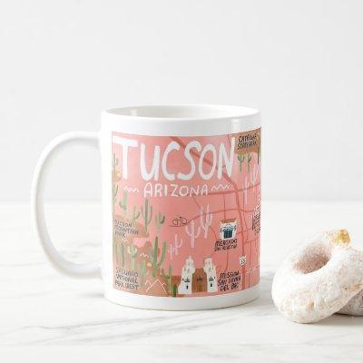 Tucson Arizona Illustrated Map Art Coffee Mug