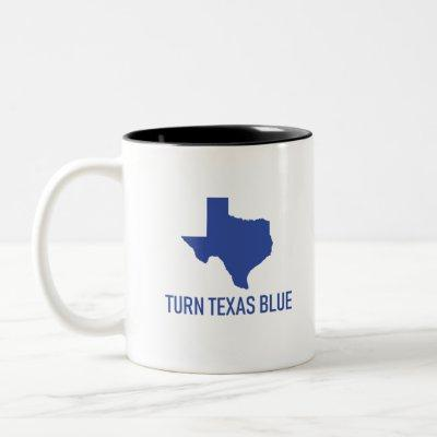 Turn Texas Blue - Vote Democrat in Texas Two-Tone Coffee Mug