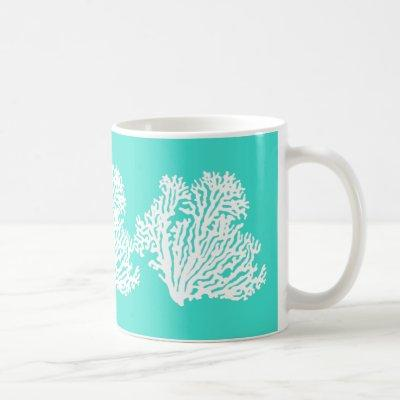 Turquoise And White Coastal Decor Coral Coffee Mug